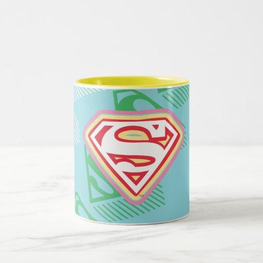 Supergirl Pastel  Repeat Pattern Two-Tone Coffee Mug