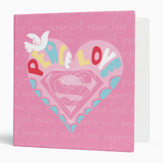 Supergirl Peace and Love Pink Binder