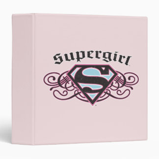 Supergirl Pin Strips Black and Pink 3 Ring Binder