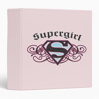 Supergirl Pin Strips Black and Pink 3 Ring Binder