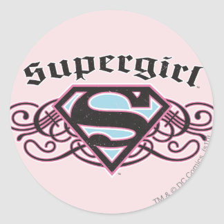 Supergirl Pin Strips Black and Pink Classic Round Sticker