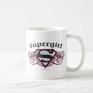 Supergirl Pin Strips Black and Pink Classic White Coffee Mug