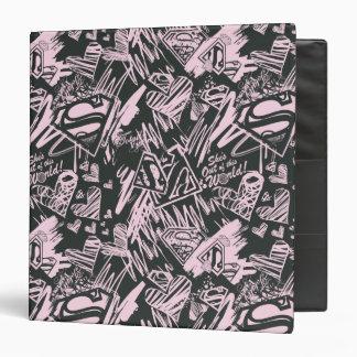 Supergirl Pink and Black Scribbles Vinyl Binder