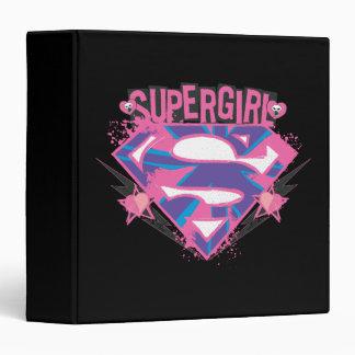 Supergirl Pink and Purple Grunge Logo Binder