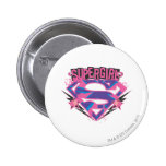 Supergirl Pink and Purple Grunge Logo Buttons