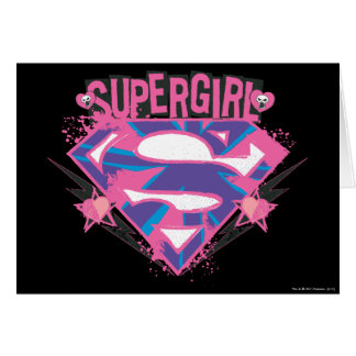 Supergirl Pink and Purple Grunge Logo Card