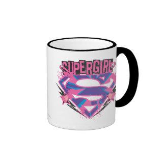 Supergirl Pink and Purple Grunge Logo Ringer Mug