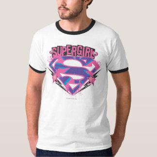 Supergirl Pink and Purple Grunge Logo Tee Shirt