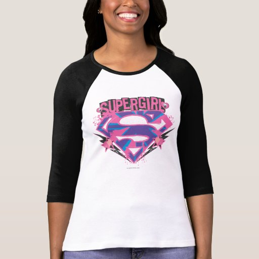 Supergirl Pink and Purple Grunge Logo Tee Shirts