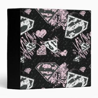 Supergirl Pink and White Logo Pattern 3 Ring Binder