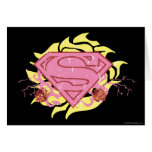 Supergirl Pink Flowers Card