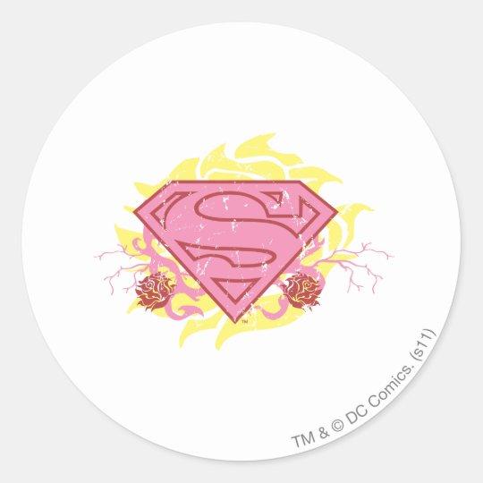 Supergirl Pink Flowers Classic Round Sticker