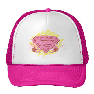 Supergirl Pink Flowers Mesh Hat