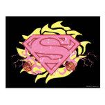 Supergirl Pink Flowers Postcard