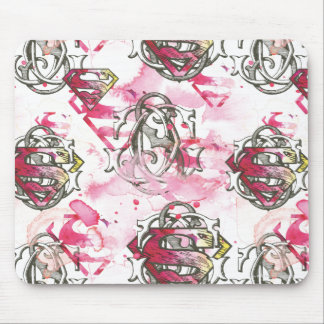 Supergirl Pink Ink Pattern Mouse Pad