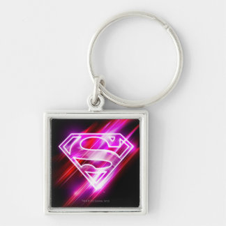 Supergirl Pink Silver-Colored Square Keychain