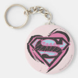 Supergirl Pink Logo in Heart Basic Round Button Keychain