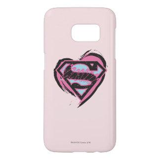 Supergirl Pink Logo in Heart Samsung Galaxy S7 Case