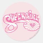 Supergirl Pink Logo Star Burst Classic Round Sticker