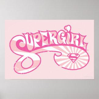 Supergirl Pink Logo Star Burst Poster