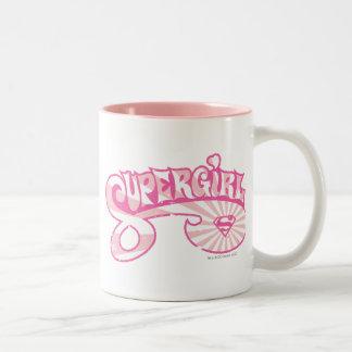 Supergirl Pink Logo Star Burst Two-Tone Coffee Mug