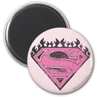 Supergirl Pink Logo with Flames 2 Inch Round Magnet