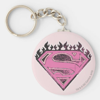Supergirl Pink Logo with Flames Basic Round Button Keychain