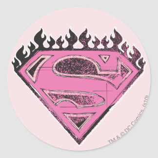 Supergirl Pink Logo with Flames Classic Round Sticker