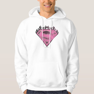 Supergirl Pink Logo with Flames Hooded Sweatshirts