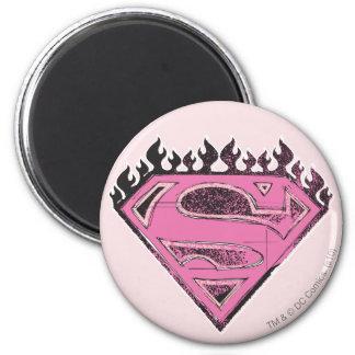 Supergirl Pink Logo with Flames Fridge Magnet