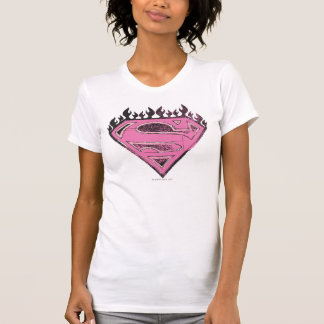 Supergirl Pink Logo with Flames T Shirt