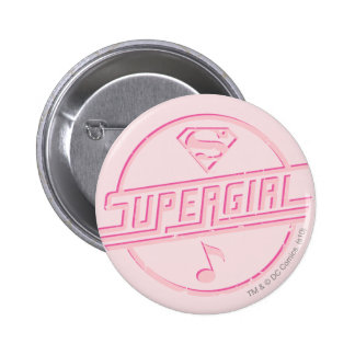 Supergirl Pink Music Note Pinback Button