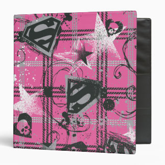 Supergirl Pink Splatter Square 3 Ring Binders