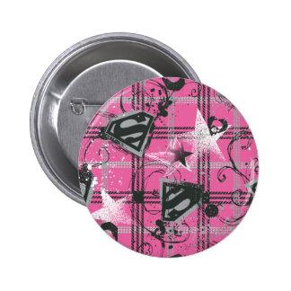 Supergirl Pink Splatter Square Pinback Button