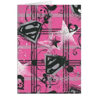 Supergirl Pink Splatter Square Card