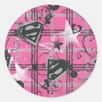 Supergirl Pink Splatter Square Classic Round Sticker