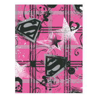 Supergirl Pink Splatter Square Post Card