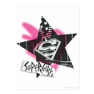 Supergirl Pink Spray Paint Star Postcard