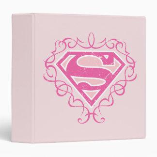 Supergirl Pink Stripes Vinyl Binder