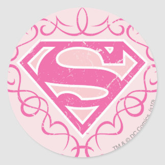 Supergirl Pink Stripes Classic Round Sticker