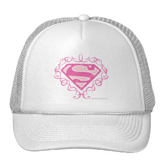 Supergirl Pink Stripes Trucker Hats