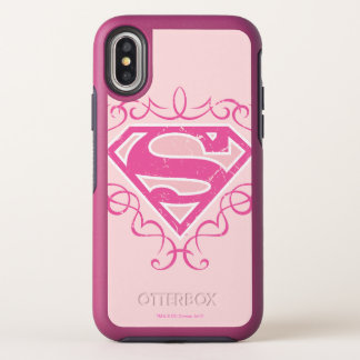 Supergirl Pink Stripes OtterBox Symmetry iPhone X Case