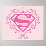 Supergirl Pink Stripes Poster