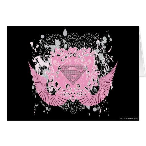 Supergirl Pink Winged Design Card