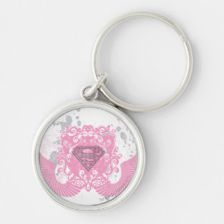 Supergirl Pink Winged Design Silver-Colored Round Keychain