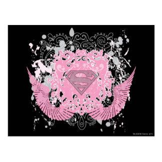 Supergirl Pink Winged Design Postcard
