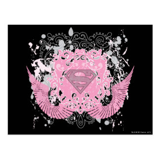 Supergirl Pink Winged Design Postcards