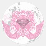 Supergirl Pink Winged Design Round Sticker