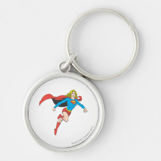 Supergirl Pose 1 Silver-Colored Round Keychain