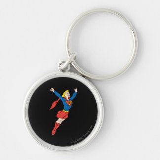 Supergirl Pose 6 Silver-Colored Round Keychain